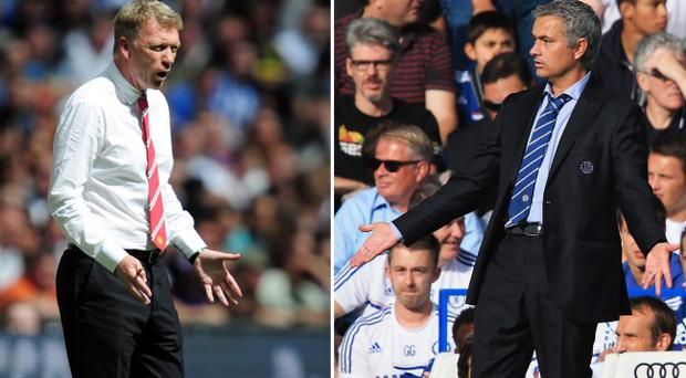 David Moyes, left, has never beaten Jose Mourinho, right, as a manager