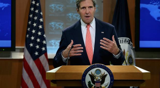 John Kerry addressed the issue of Syria's use of chemical weapons at a briefing on Monday