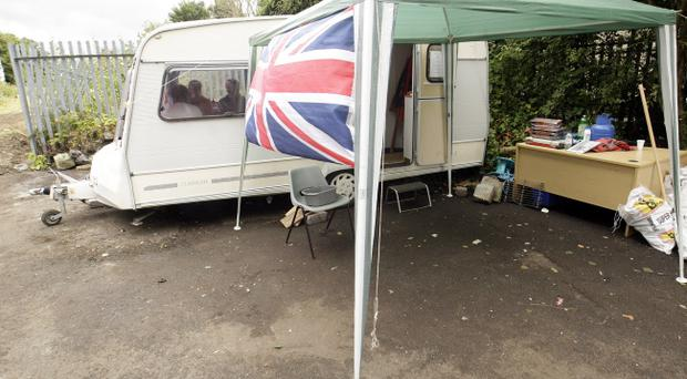 Tina Patrick, Jacqueline Elliott and Elizabeth Clarke in the caravan at the Twaddell camp