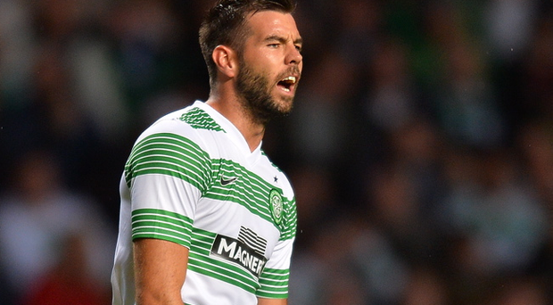 GLASGOW, SCOTLAND - JULY 31 : Joe Ledley of Celtic during the UEFA Champions League Third Qualifying Round First Leg match between Celtic and Elfsborg at Celtic Park Stadium on July 31, 2013 in Glasgow, Scotland. (Photo by Mark Runnacles/Getty Images)