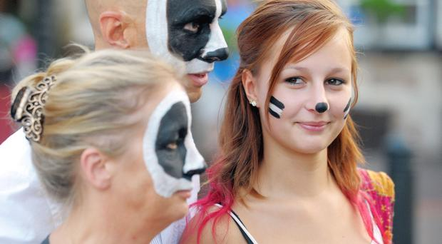 A protester in Minehead during an event organised by Somerset Badger Patrol, against the planned cull