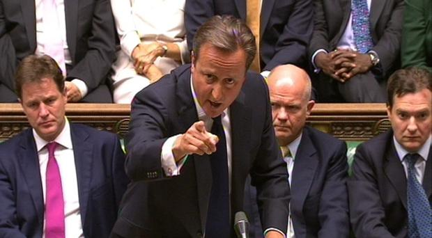 Prime Minister David Cameron speaks during the debate on Syria in the House of Commons last night