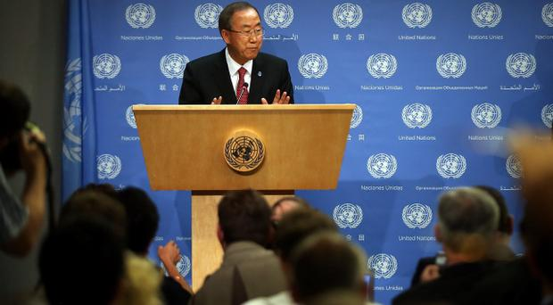 Secretary-General of the United Nations Ban Ki-moon speaks to the media at a news conference about the situation in Syria at the United Nations on September 3, 2013 in New York City. U.N. officials said on Tuesday that the civil war in Syria has forced over 2 million people out of the country and over 4 million others have now been displaced within its borders. (Photo by Spencer Platt/Getty Images)