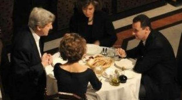 The restaurant pictured is understood to be situated in Damascus' Old Town, where Mr Kerry and Mr Assad were joined by their wives Teresa Heinz and Asma al-Assad, the First Lady of Syria.