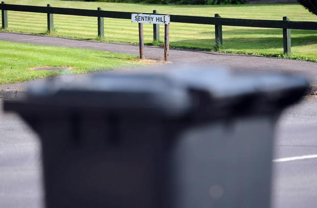 A street close by to where a young man was found beaten and naked in a taped-up domestic, wheeled bin in Ballymena, County Antrim. Pic Colm Lenaghan /Pacemaker