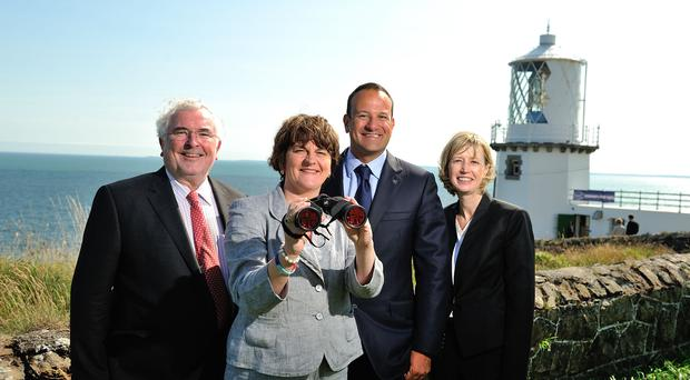 Pictured (l-r) at the official launch of the Lighthouse Tourism Trail project are Pat Colgan, Chief Executive of the SEUPB, Tourism Minister Arlene Foster, Irish Minister for Tourism Leo Varadkar and Chief Executive of the Commissioners for Irish Lights Yvonne Shields at Blackhead Lighthouse, Whitehead. The first phase of the project involves three lighthouse properties in Northern Ireland - Rathlin West Lighthouse, Rathlin Island; Blackhead Lighthouse, Co. Antrim and St. John's Point Lighthouse, Co. Down, as well as two in the Republic of Ireland. Picture Michael Cooper