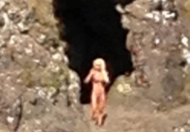 Mobile phone footage taken by a shocked walker of a naked woman posing on Cave Hill for a series of photographs