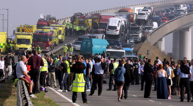 A general view of the scene on the London bound carriageway of the Sheppey Bridge Crossing near Sheerness in Kent following a multi vehicle collision earlier this morning