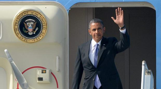 President of the United States of America Barack Obama arrives for the G20 summit on September 5, 2013 in St. Petersburg, Russia.