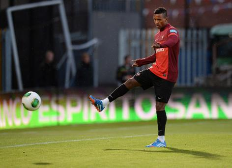 Nani during last night's Portugal squad training session ahead of their World Cup qualifier with Northern Ireland at Windsor Park