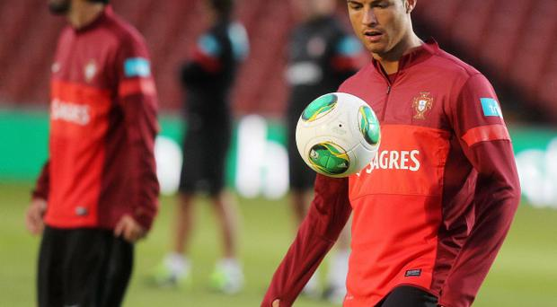 Portugal train at Windsor Park ahead of their World Cup qualifier against Northern Ireland on Friday night. Real Madrid star and Portugal's captain Cristiano Ronaldo trains with his team. Photo-Jonathan Porter/Presseye.