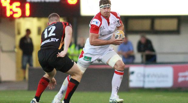 Newport Gwent Dragons v Ulster - RaboDirectPro12 - Ulster's Robbie Diack takes on Dragons' Jack Dixon