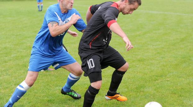 Action from Dollingstown v Crewe United, Irish Cup, September 7
