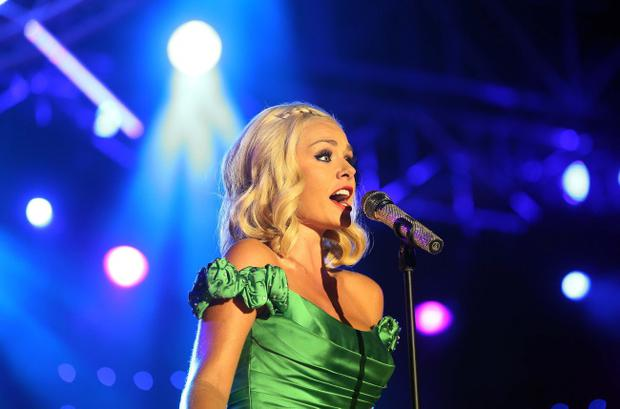 Mezzo soprano superstar Katherine Jenkins lights up the stage at this year's BBC Proms in the Park live from the Titanic Slipways in Belfast on Saturday night (September 7). Photo-William Cherry/Presseye