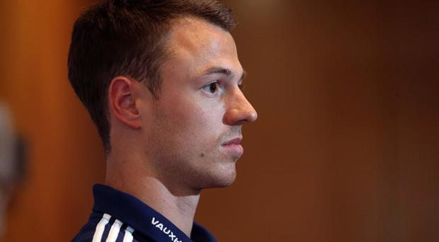 Jonny Evans speaks to the media in Valuz yesterday