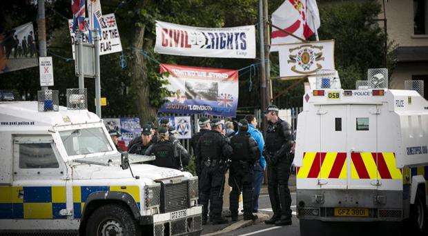 Protesters gather at Twaddell Avenue
