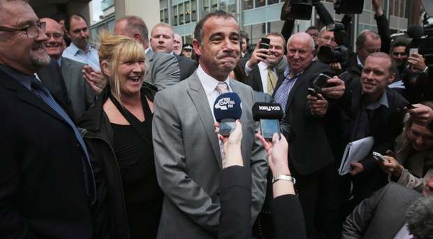 Michael Le Vell, who plays Kevin Webster in the TV soap Coronation Street, makes a statement to the press after being found not guilty at Manchester Crown Court for alleged child sex offences on September 10, 2013 in Manchester, England