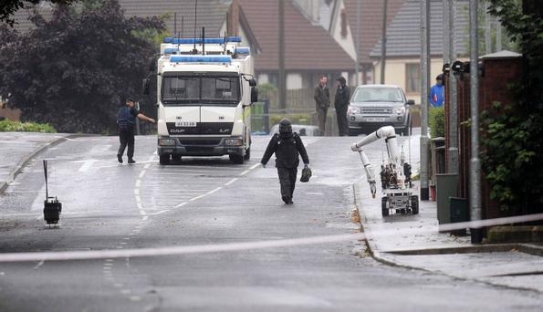Bomb disposal teams in attendance at a security alert on the Ballynure Road, Ballyclare