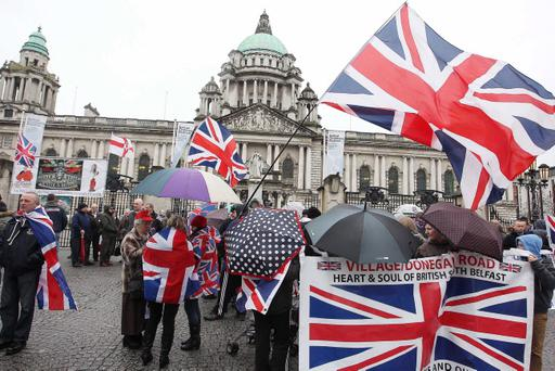 A Union Flag protest at Belfast City Hall.