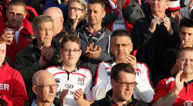 RaboDirect PRO12, Ulster v Glasgow at Ravenhill, Belfast. A minute's applause is held in memory of former Ulster Player Nevin Spence on his first anniversary , who died with his brother Graham and father Noel in a farming accident