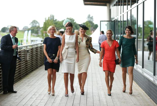 Victoria Square Ladies Race Day at Down Royal Racecourse. Danielle Maxwell-Kyle, Jeane Simpson, Gemma Garrett, Debby Langsford-Young and Katie Langsford-Dodds at Down Royal. Picture by Kelvin Boyes / Press Eye