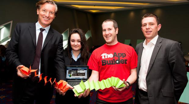 Jon Robson CEO NYSE, Morgan McManus Mercy College, Jonny Kirk The App Builder and Gareth Quinn MBAAI (Northern Chapter) at the Digital DNA Event at Titanic Belfast. PictureElaine Hill