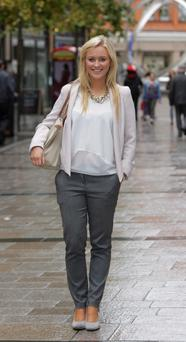 Gil Stewart (22), Student, Belfast Wore what? Jacket, £50, Topshop; top, £22, Zara; trousers, £40, Warehouse; bag, £80, Longchamps; shoes, borrowed. Why? I like neutral colours and pastels. I don't like disco pants and patterned leggings, as I don't think they work on anyone. Who? I really like Victoria Beckham as she always look elegant. Miley Cyrus is really getting it wrong at the moment. * Monthly spend £200