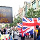 More than 3,000 loyalists marched through Belfast during an illegal parade the day after the city celebrated Culture Night