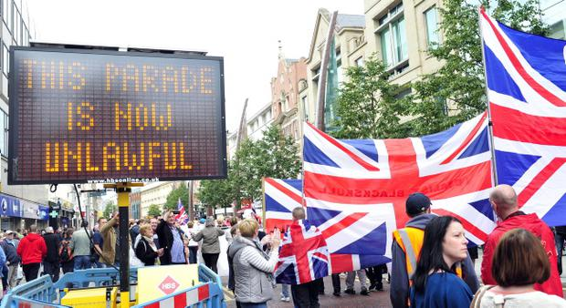 More than 3,000 loyalists - including bands and supporters - marched from City Hall to north Belfast in September Pic Mark Marlow