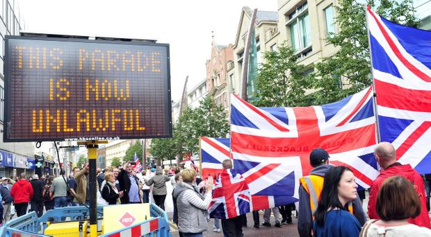 More than 3,000 loyalists - including bands and supporters - marched from City Hall to north Belfast last month Pic Mark Marlow