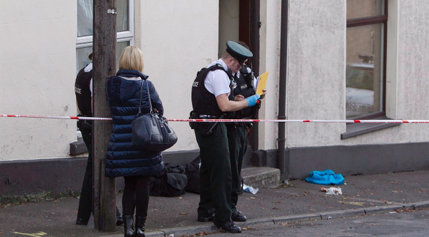 The scene in the Talbot Street area of Newry after a man was stabbed man was stabbed in the face on Saturday