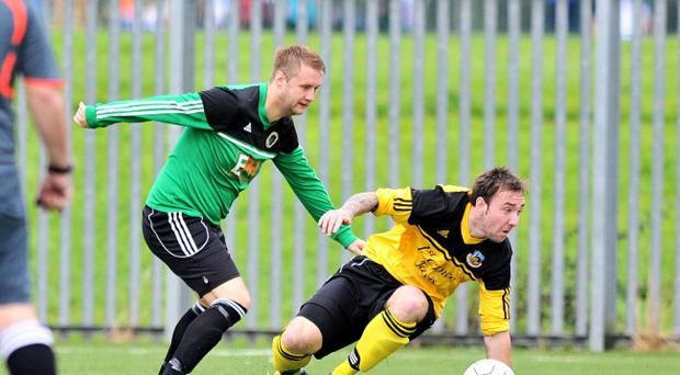 Action from Iveagh United v Shankill United, Border Cup, September 21