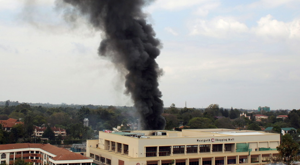 Heavy smoke rises from the Westgate Mall in Nairobi Kenya Monday Sept. 23 2013
