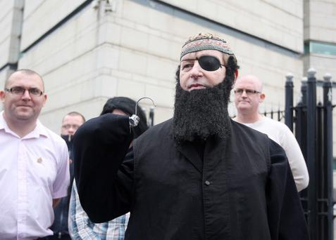 Loyalist campaigner Willie Frazer appears at Belfast Laganiside Courts in relation to his flag protest charges dressed as Muslim Cleric Abu Hamza