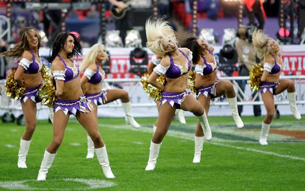 Minnesota Vikings cheerleaders perform prior to the NFL International Series match at Wembley Stadium, London