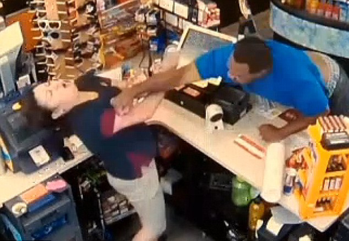 The moment a customer punches a shop worker in the face in Lakewood, Colorado