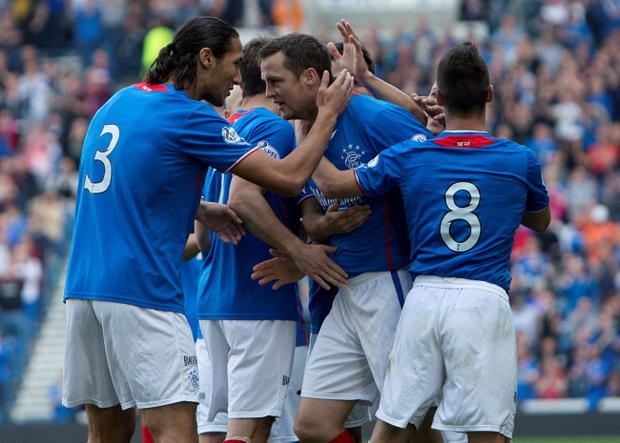 Rangers' Jon Daly celebrates his first goal against Stenhousemuir during the Scottish League One match at Ibrox, Glasgow.