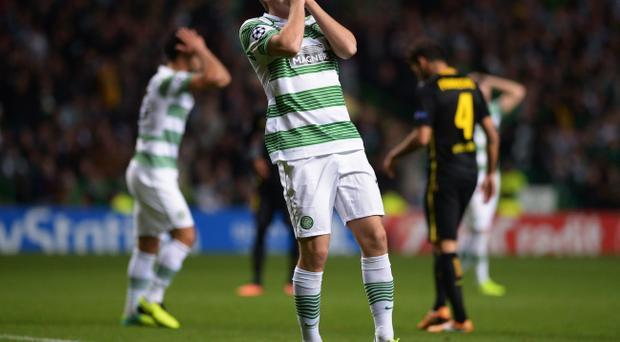 James Forrest of Celtic reacts after a missed chance during the UEFA Champions League Group H match between Celtic and FC Barcelona at Celtic Park Stadium on October 1, 2013 in Glasgow, Scotland. (Photo by Jeff J Mitchell/Getty Images)
