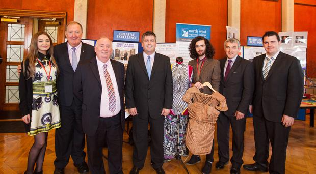 Members of the Employment and Learning Committee met students at the Committee's Colleges Showcase event, held in conjunction with Colleges NI. Pictured l-r Kayleigh Devanney, North West Regional College student; Pat Ramsey MLA; Fra McCann MLA; Gerry Campbell, chief executive at Colleges NI; Oliver Doherty, Game of Thrones costume assistant and former North West Regional College student; Committee Deputy Chairperson, Tom Buchanan MLA; and Phil Flanagan MLA.