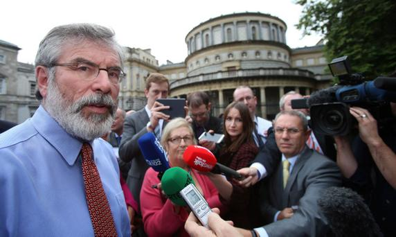 Sinn Fein Leader Gerry Adams speaking to the media at Leinster House, the day after his brother Liam was found guilty of of a string of child sex abuse charges