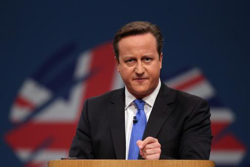 British Prime Minister David Cameron delivers his keynote speech to delegates on the last day of the annual Conservative Party Conference at Manchester Central on October 2, 2013 in Manchester, England. During his closing speech David Cameron said that his