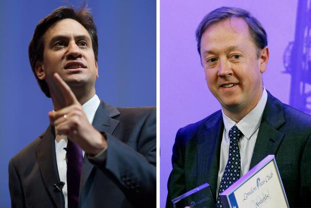 Labour leader Ed Miliband and Mail on Sunday editor Geordie Greig, who has