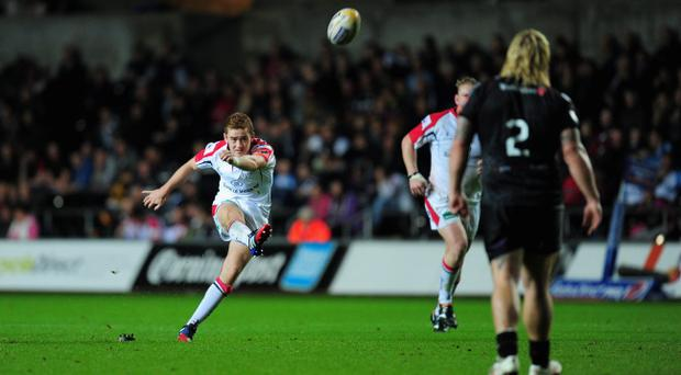 SWANSEA, WALES - OCTOBER 04: Ulster player Paddy Jackson kicks a penalty during the RaboDirect Pro 12 match between Ospreys and Ulster at Liberty Stadium on October 4, 2013 in Swansea, United Kingdom. (Photo by Stu Forster/Getty Images)