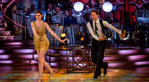 Brendan Cole and Sophie Ellis-Bextor performing the Charleston on BBC programme Strictly Come Dancing. Photo Guy Levy/BBC/PA Wire