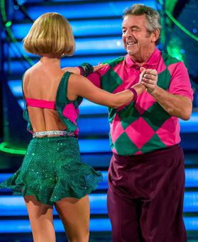 Aliona Vilani and Tony Jacklin performing during rehearsals for the BBC programme Stictly Come Dancing. Guy Levy/BBC/PA Wire