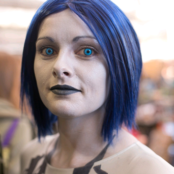 Lisa from Manchester attends the London Film And Comic Con as Cortana from the Halo video game series