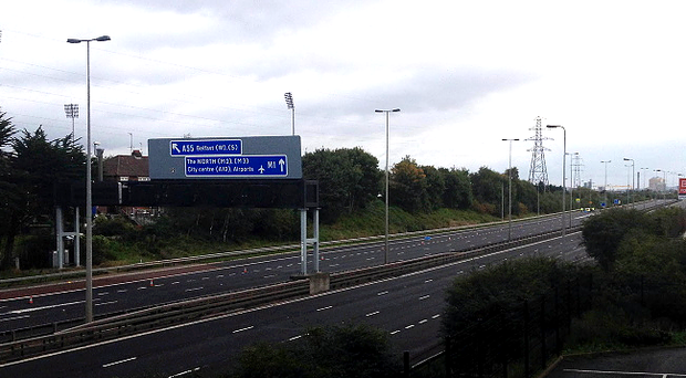 The M1 motorway between Belfast and Lisburn was shut in both directions due to a security alert. Photo by Presseye.