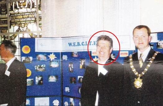 Liam Adams alongside Lord Mayor Martin Morgan at the Webciter function in Belfast City Hall in 2003
