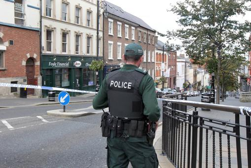 The scene of the murder of Barry McCrory on Shipquay Street in Derry on Thursday. The man was gunned down in an apartment above the Foyle Financial building in the city centre. Picture Margaret McLaughlin