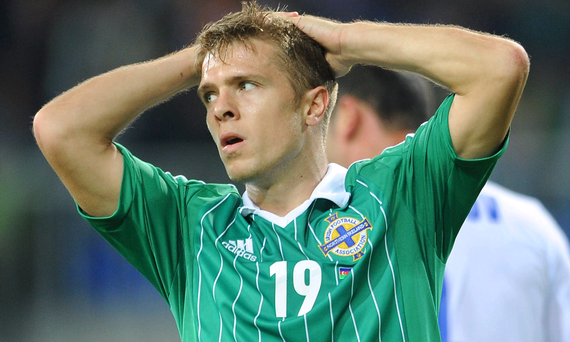 Northern Ireland's Jamie Ward rues a missed chance during the FIFA World Cup Qualifying, Group F match at the Bakcell Arena, Baku, Azerbaijan